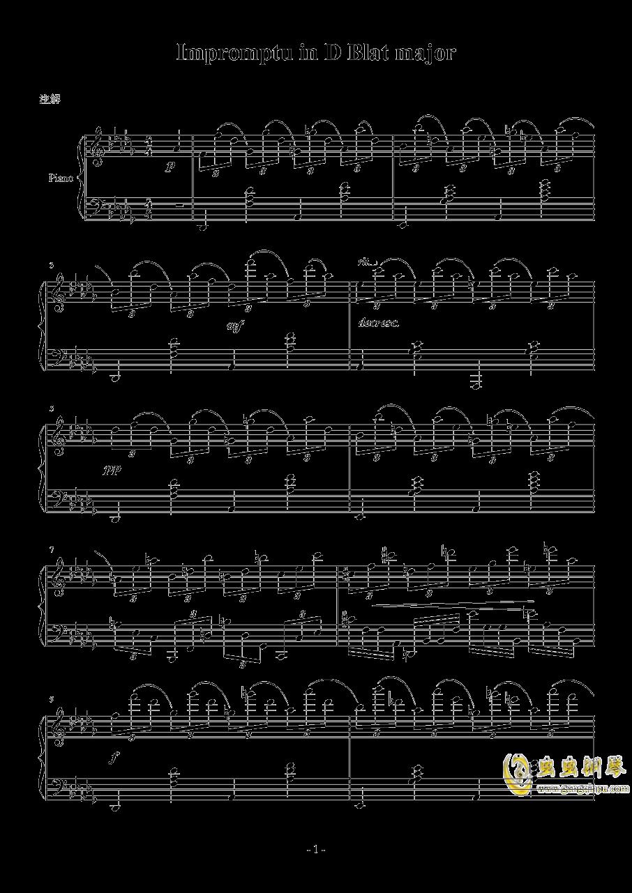 Db大调即兴曲钢琴谱 第1页