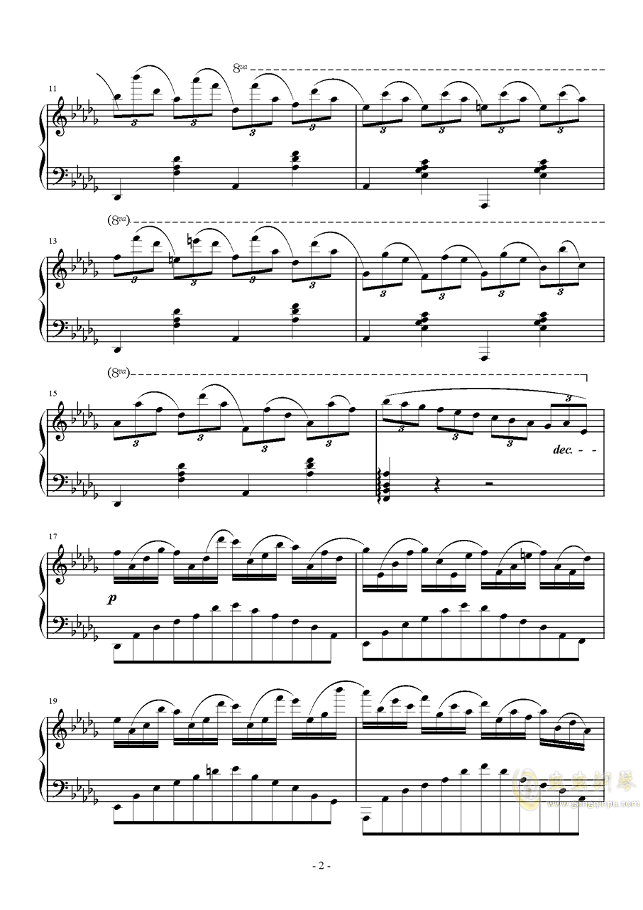 Db大调即兴曲钢琴谱 第2页