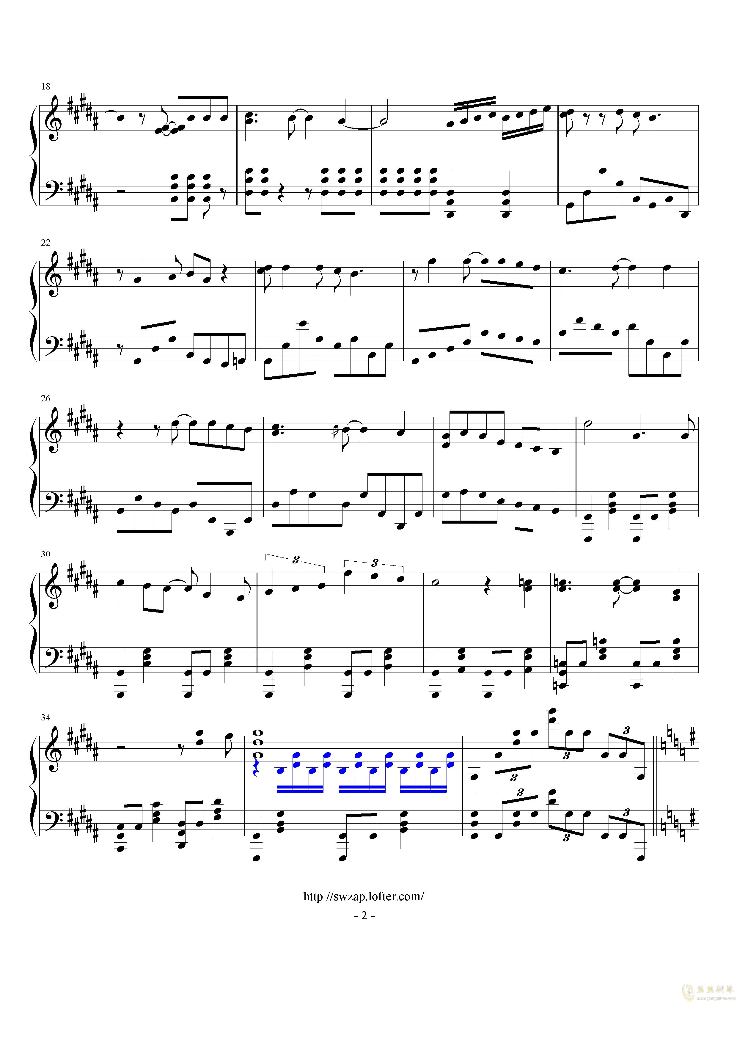 JoJo的奇妙冒险 黄金之风钢琴谱 第2页