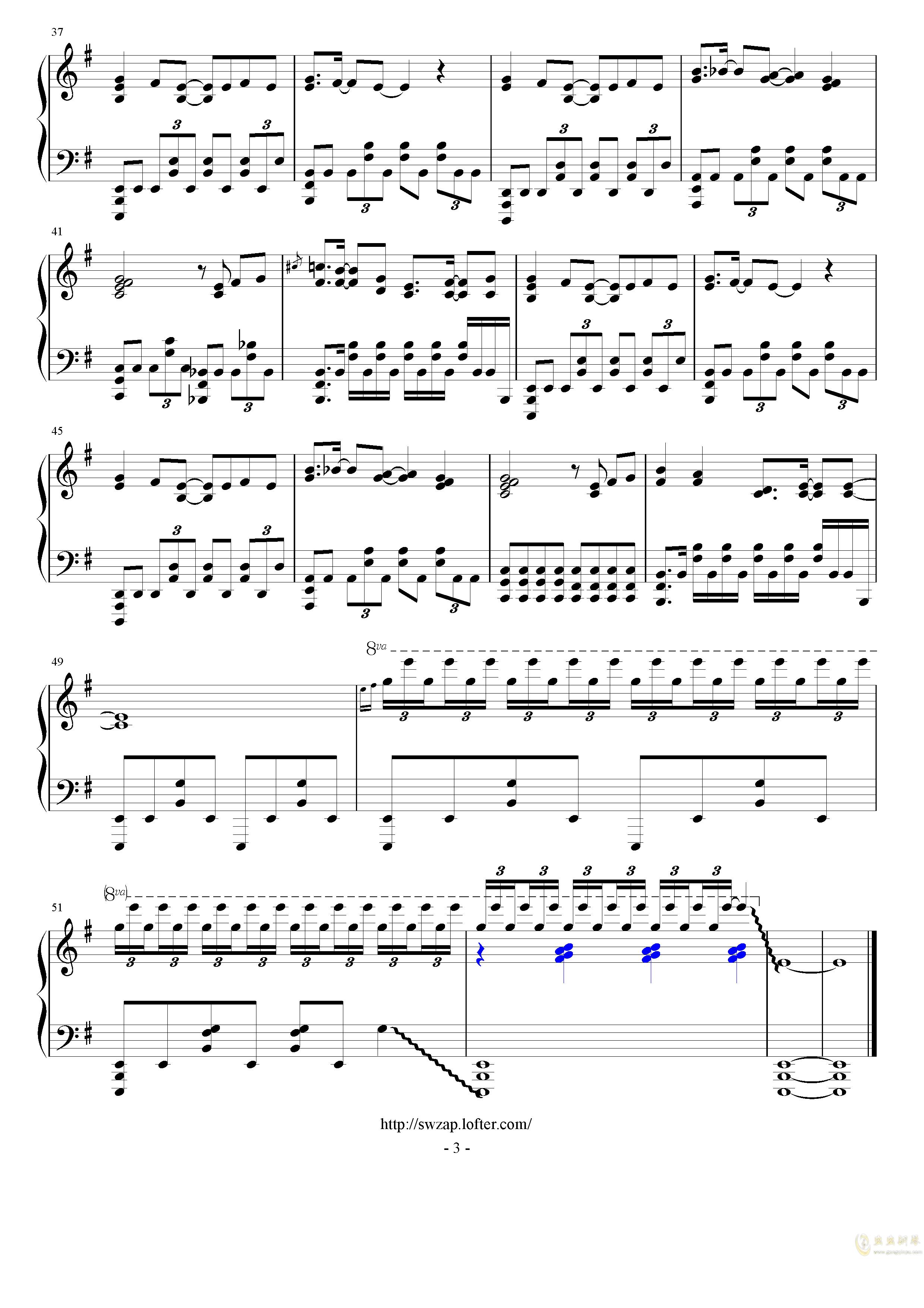 JoJo的奇妙冒险 黄金之风钢琴谱 第3页
