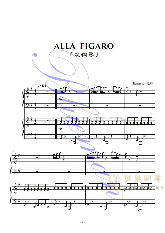 Alla Figaro钢琴谱 第1页