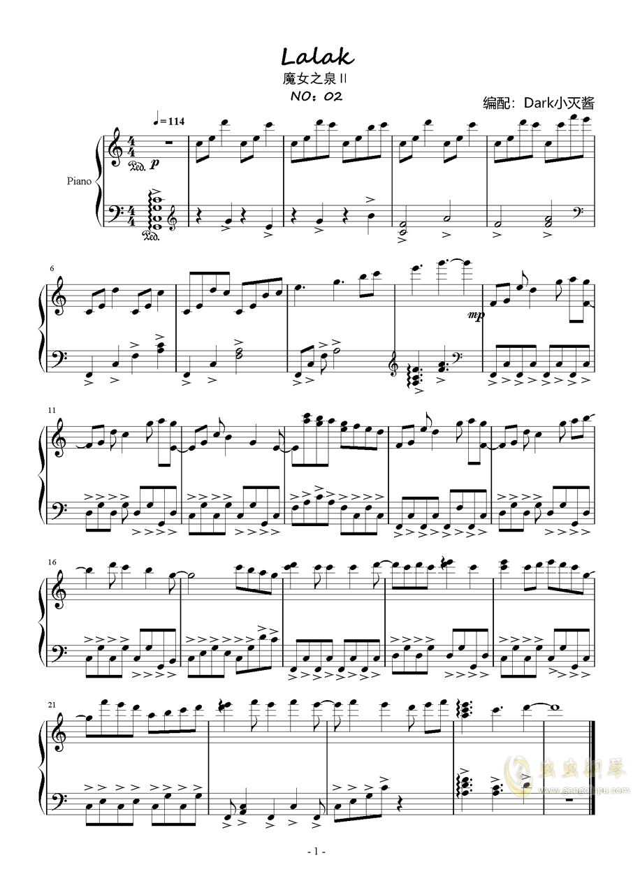拉拉克钢琴谱 第1页