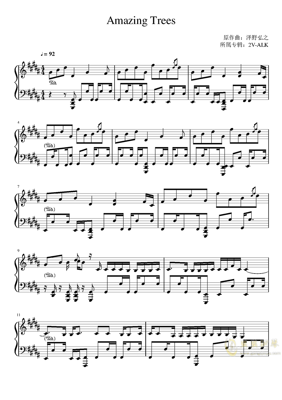 Amazing Trees钢琴谱 第1页