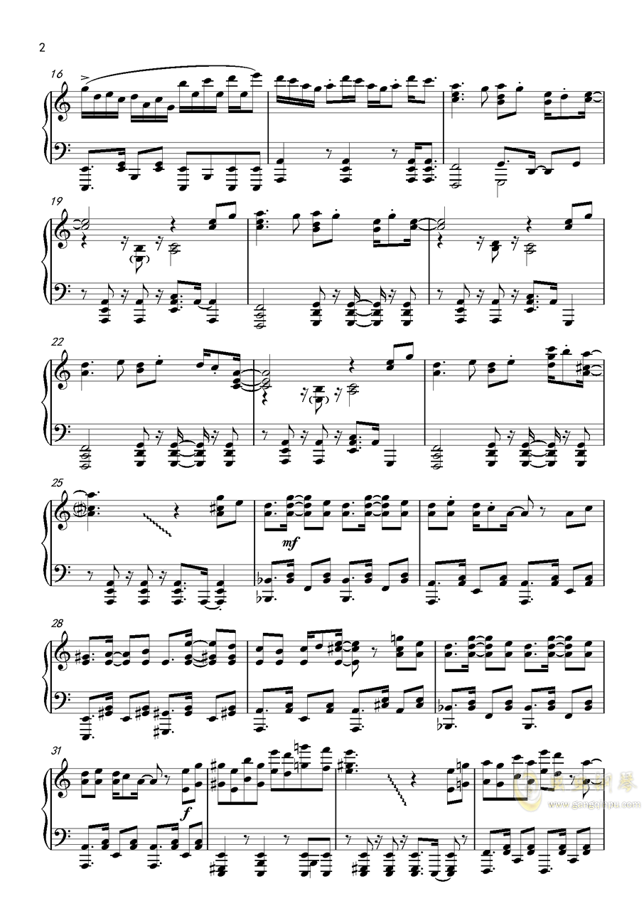 �L来钢琴谱 第2页