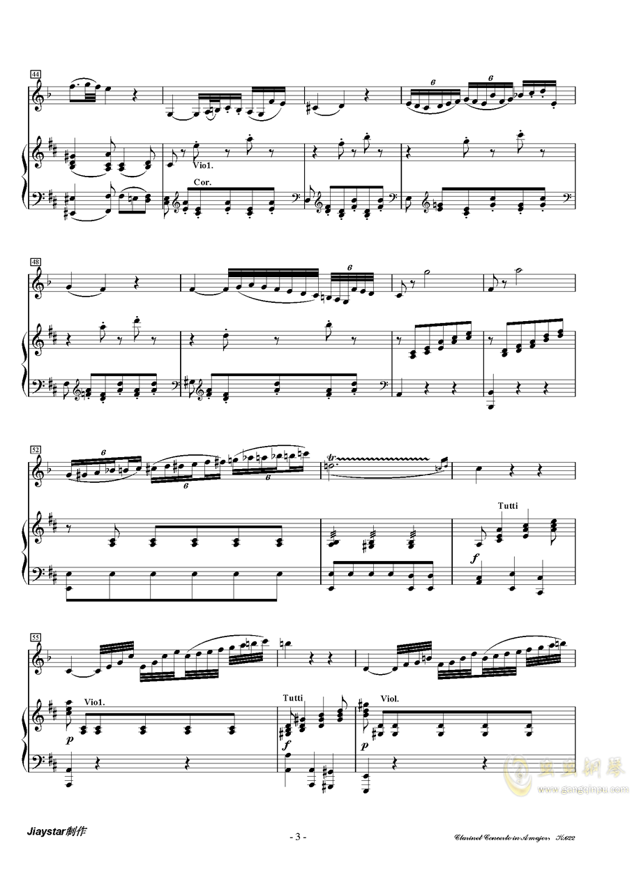 A大调单簧管协奏曲K.622第二乐章(单簧管 ag88环亚娱乐)ag88环亚娱乐谱 第3页