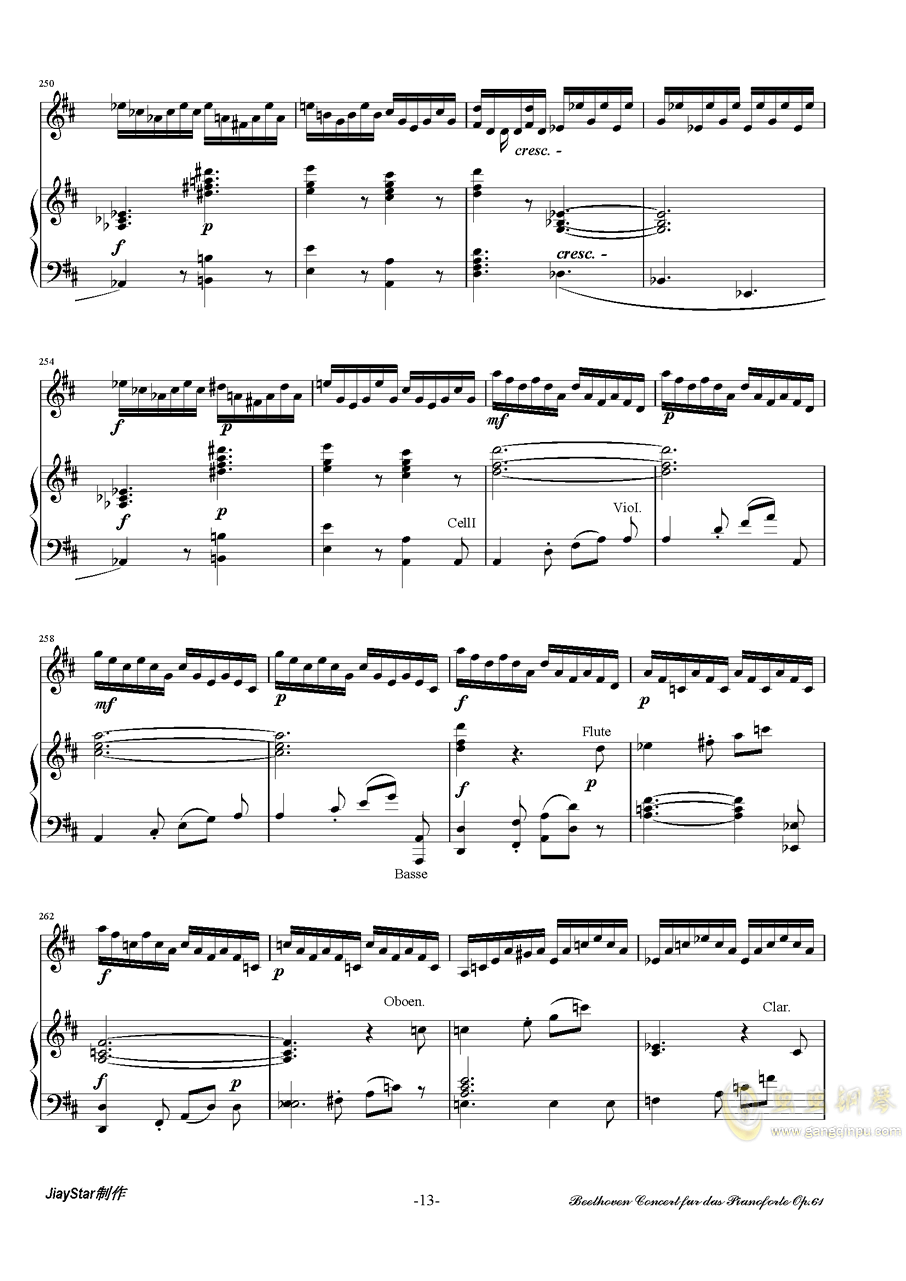 D大�{小提琴�f奏曲第三�氛落�琴�V 第14�