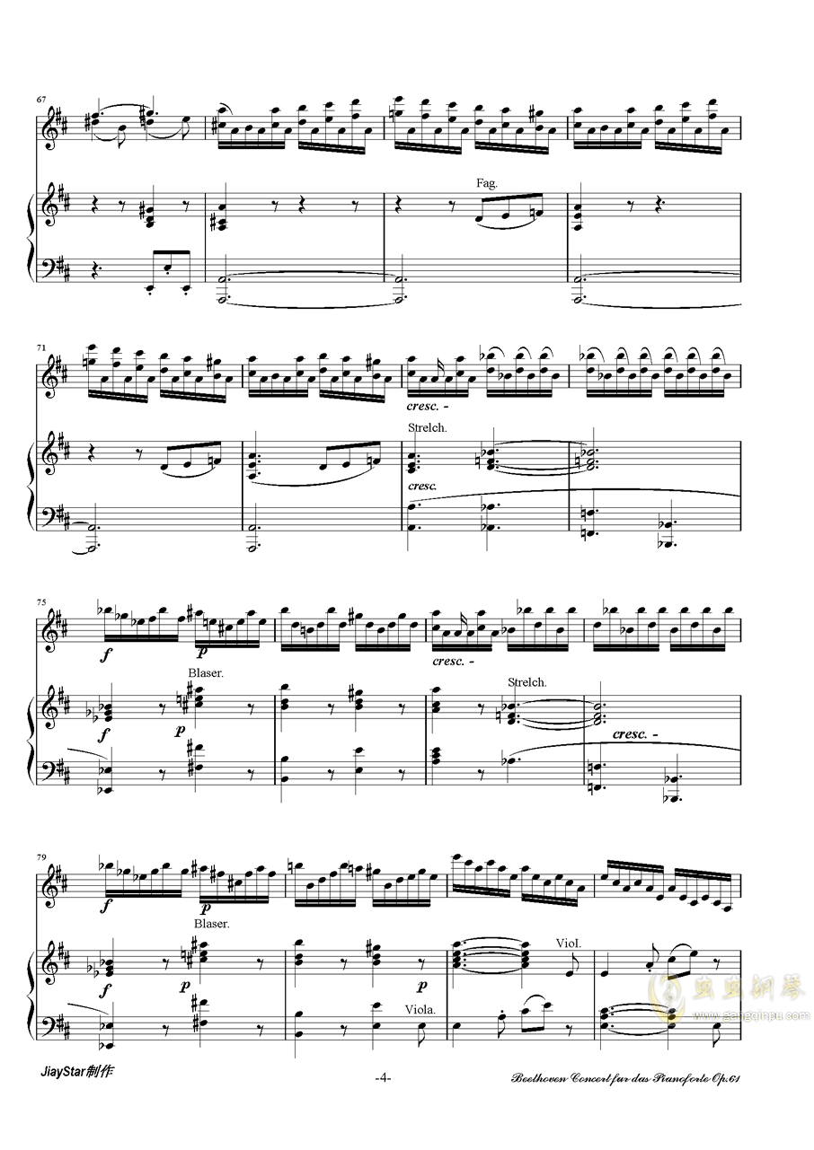 D大�{小提琴�f奏曲第三�氛落�琴�V 第5�