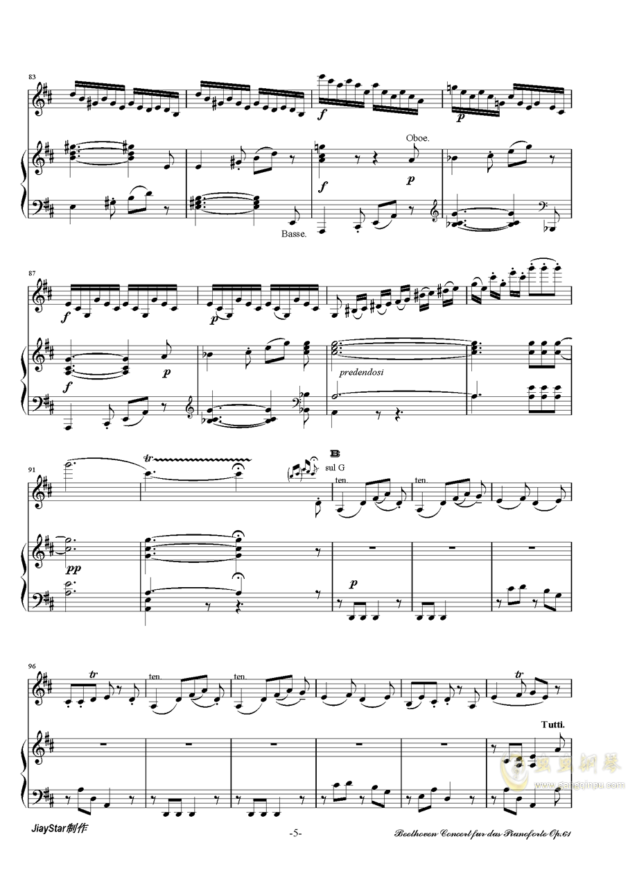 D大�{小提琴�f奏曲第三�氛落�琴�V 第6�