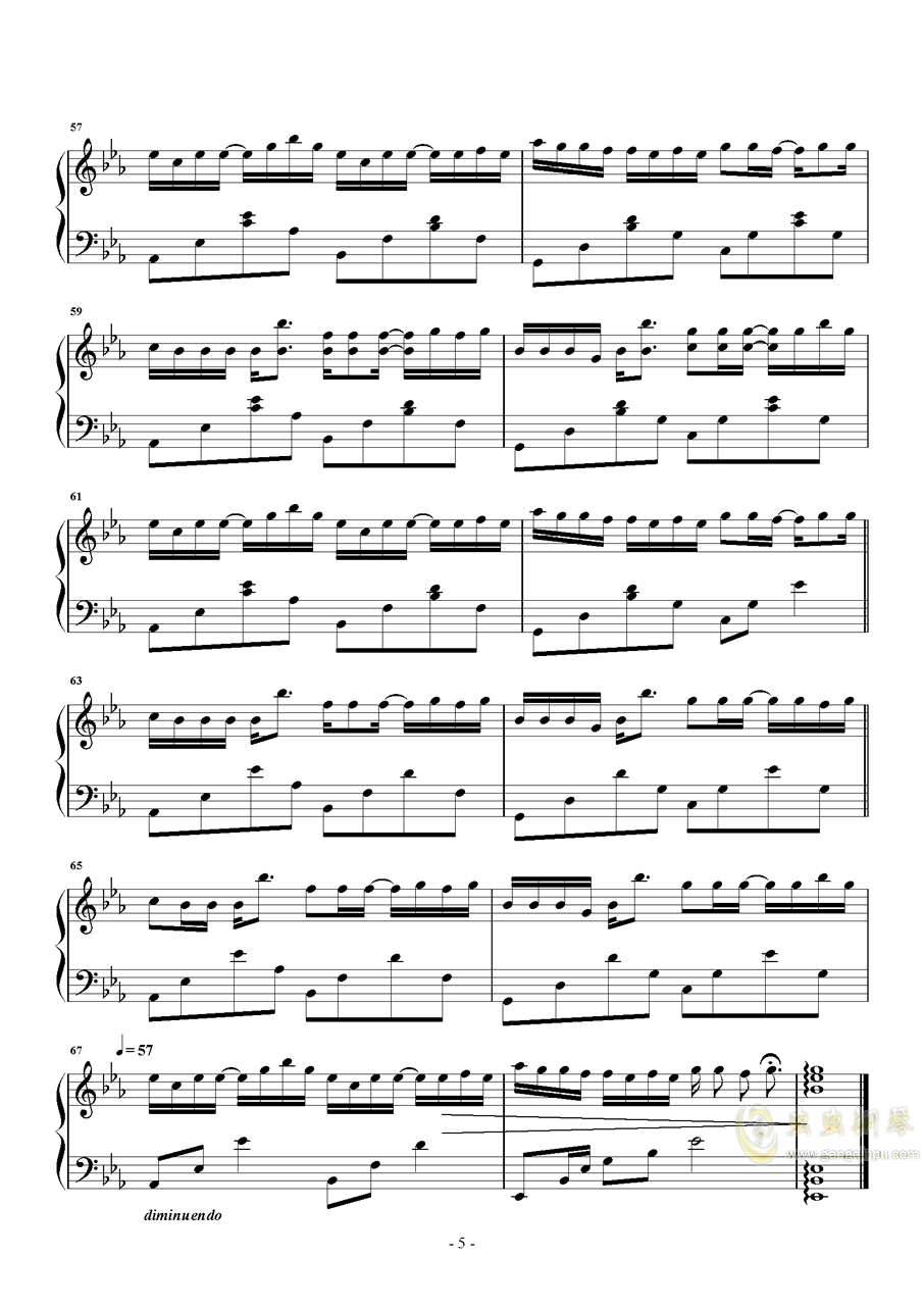 绿色钢琴谱 第5页