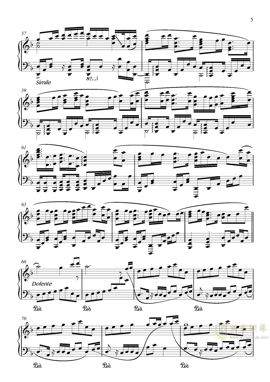 竹之花钢琴谱 第5页
