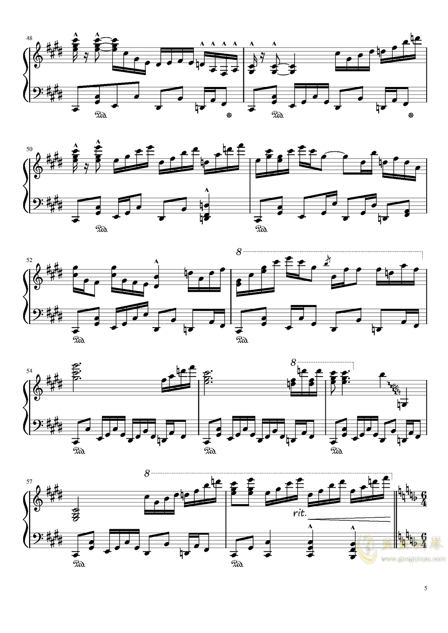 夜が降りてくる ~ Evening Star钢琴谱 第5页