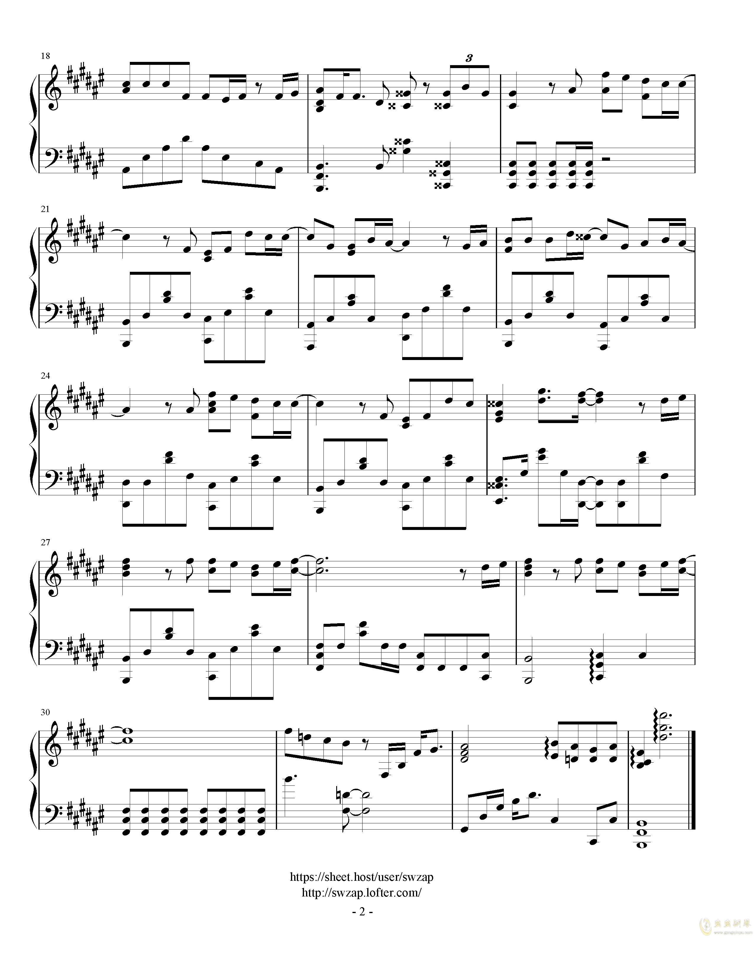 地�恧��o钢琴谱 第2页