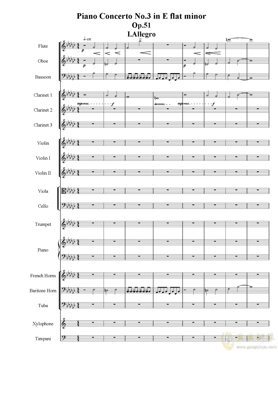 Piano Concerto No.3 in E Flat minor,I.ag88环亚娱乐谱 第1页