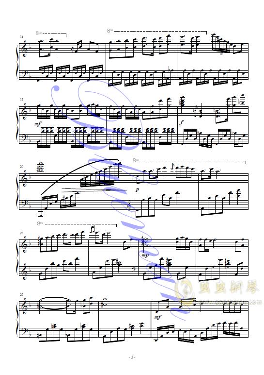 左手指月钢琴谱 第2页