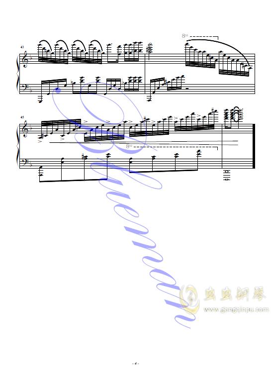 左手指月钢琴谱 第4页