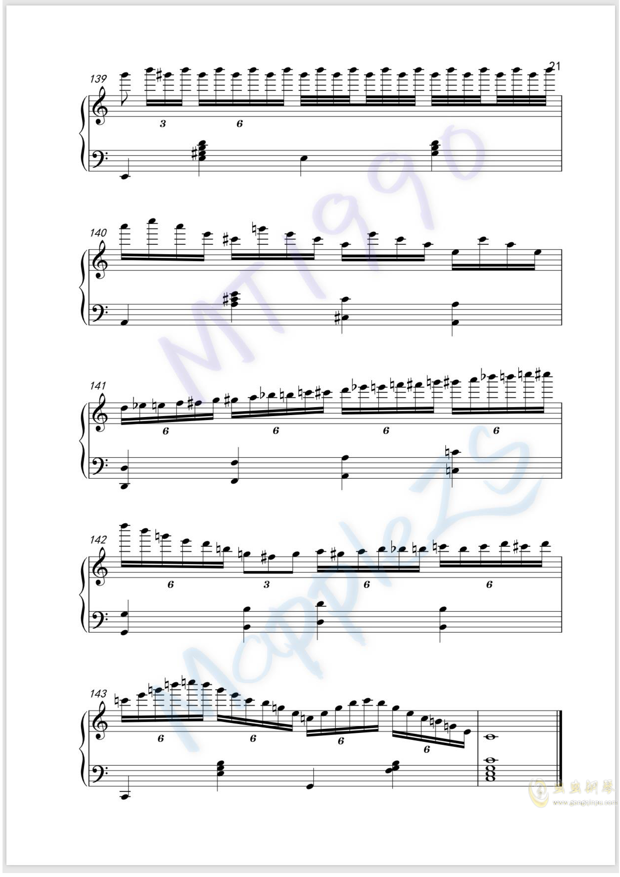 流光练习曲钢琴谱 第21页