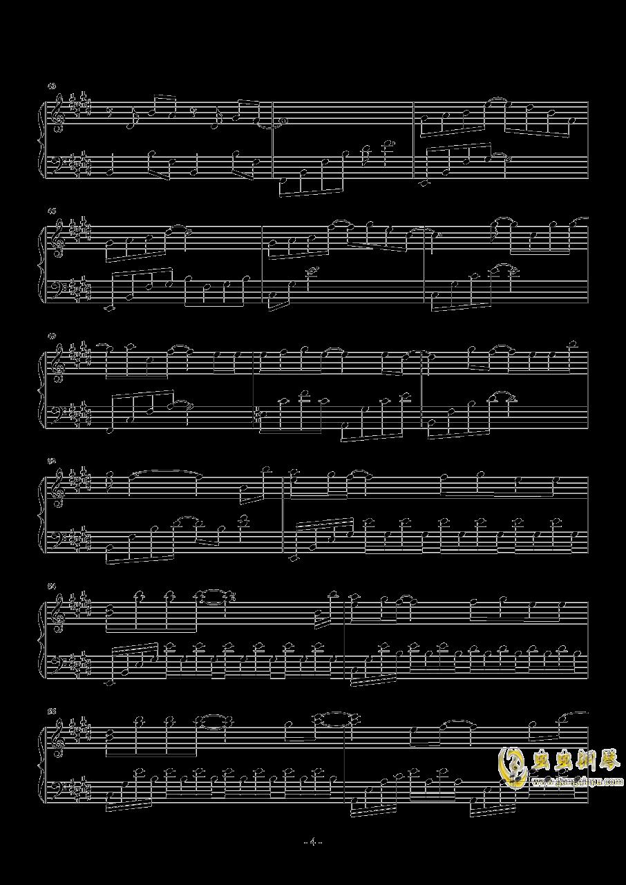 真的傻钢琴谱 第4页