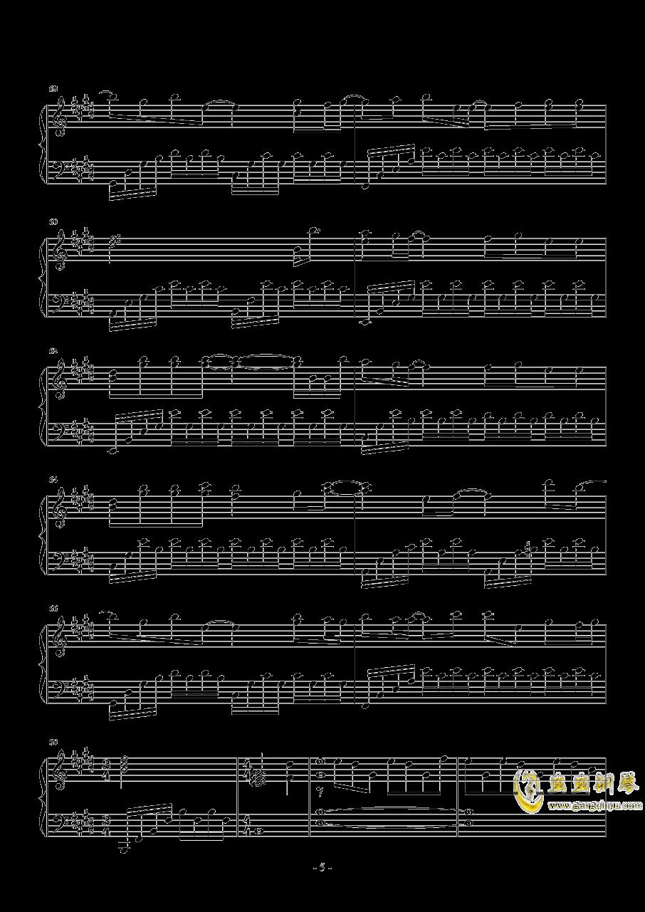 真的傻钢琴谱 第5页