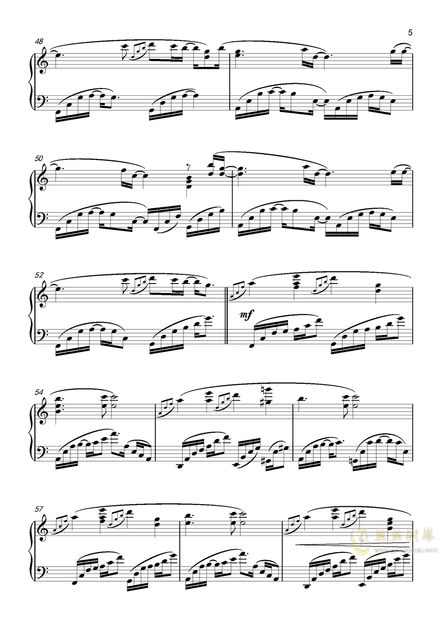 月景色钢琴谱 第5页