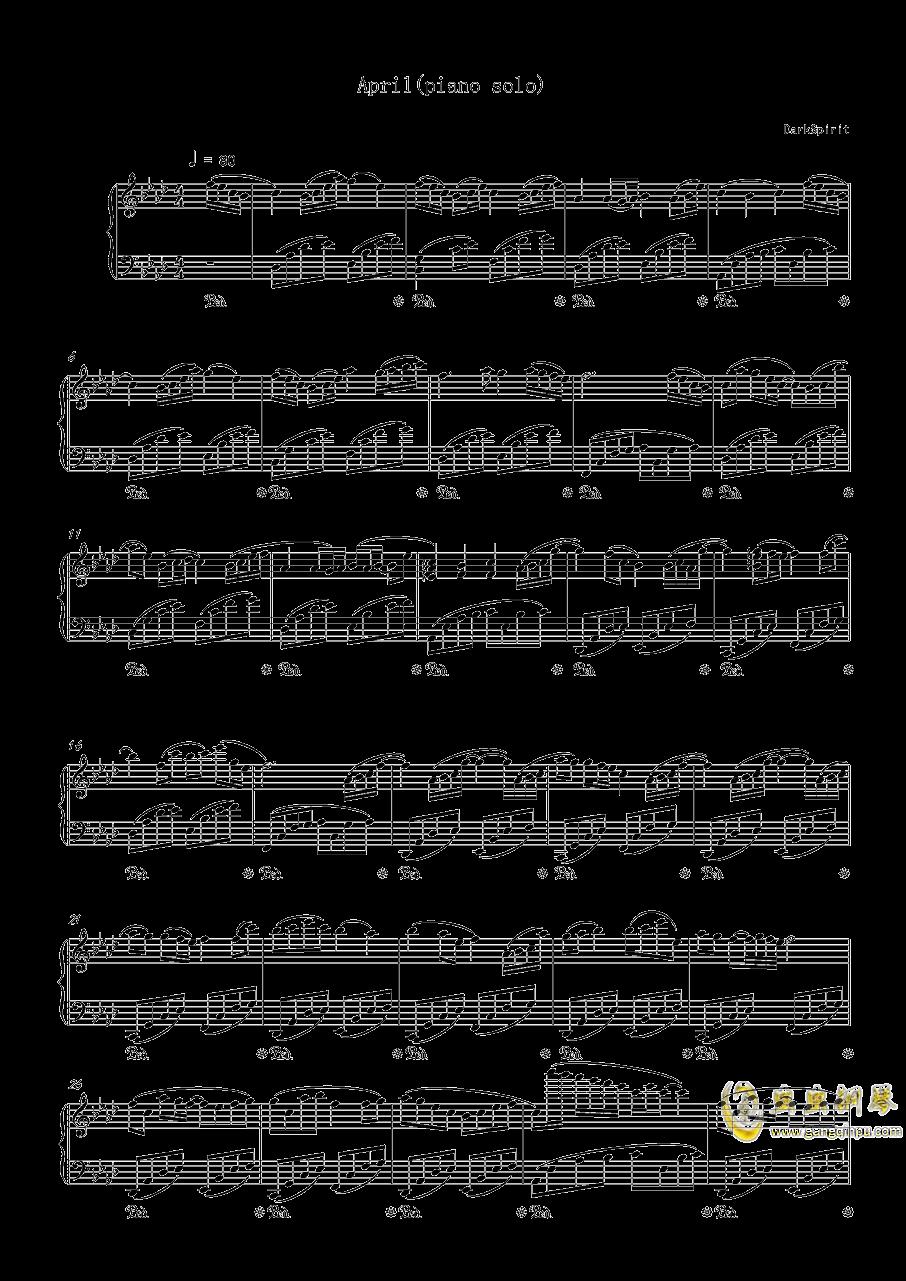 April钢琴谱 第1页