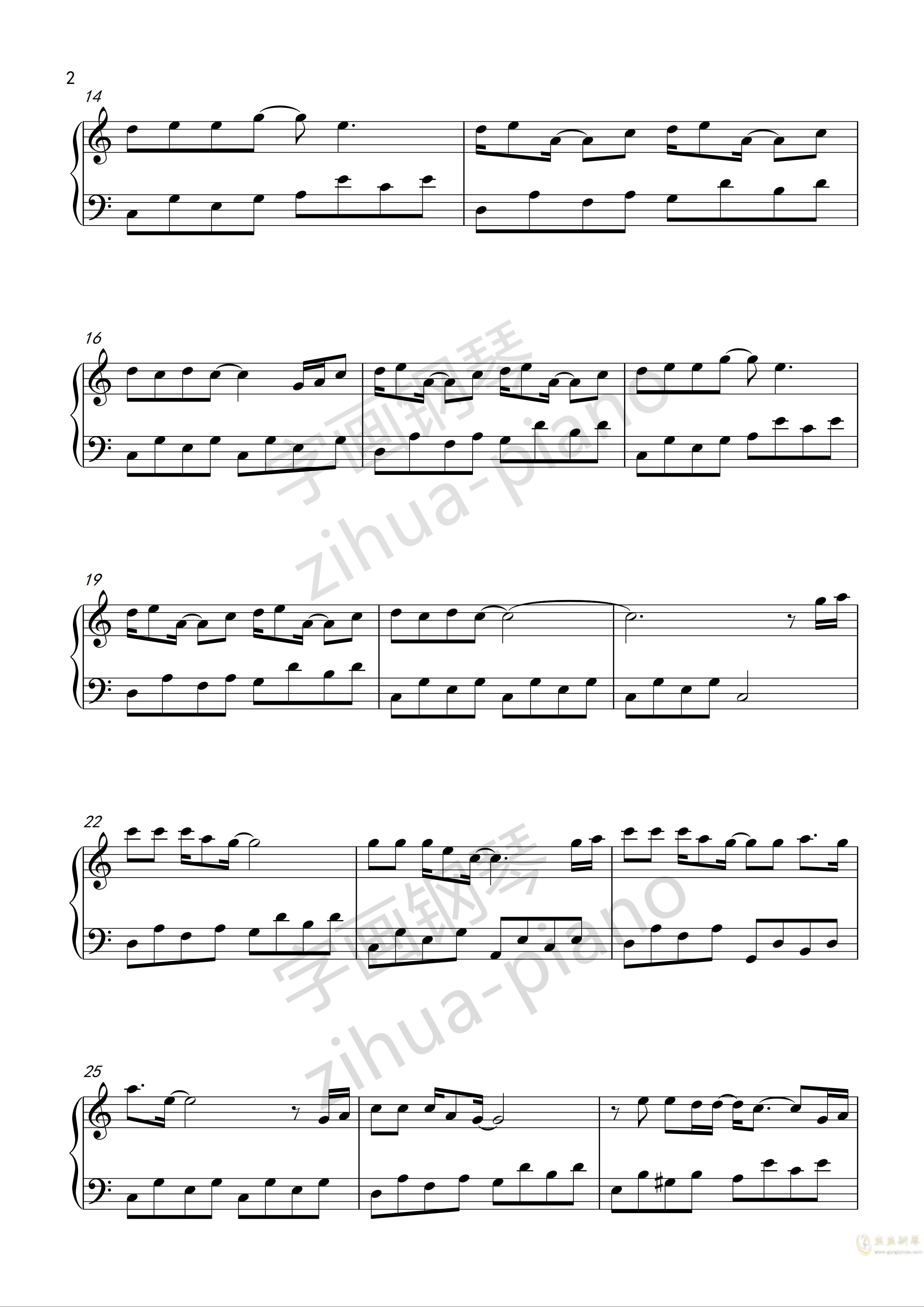 答案钢琴谱 第2页