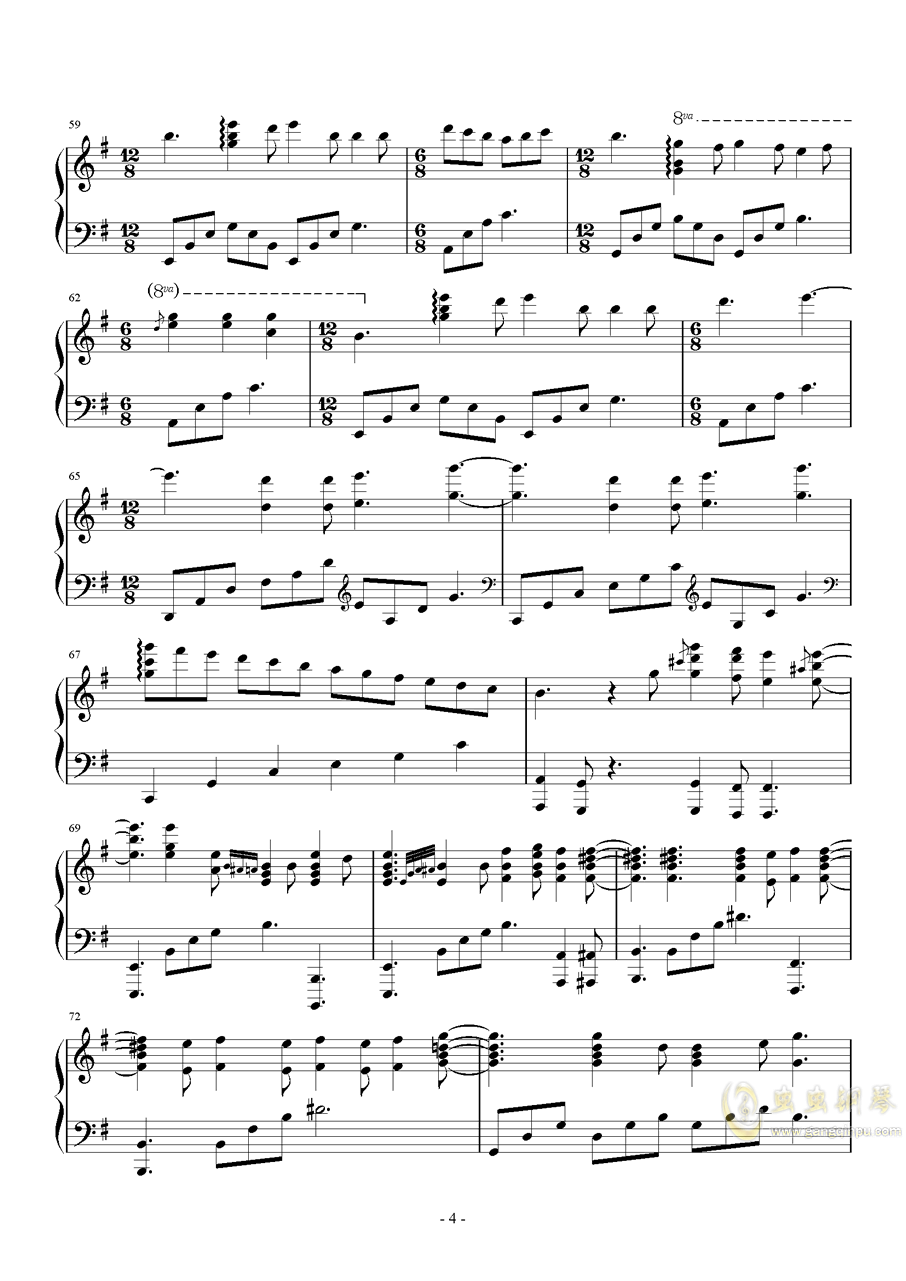 Second Waltz 钢琴谱 第4页