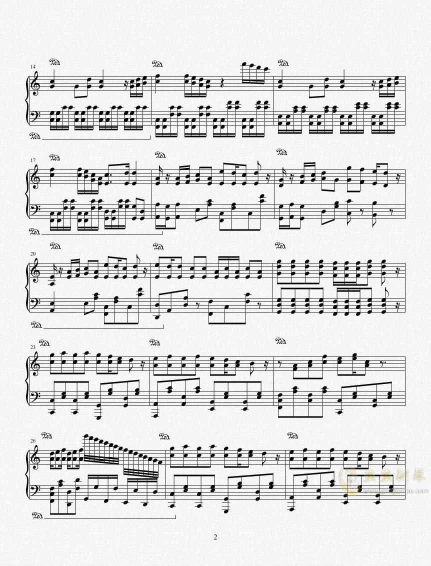 龙珠改OP1 - Dragon Soul钢琴谱 第2页