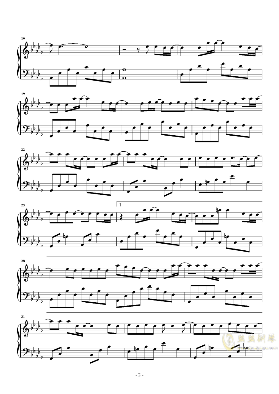 无名之辈钢琴谱 第2页