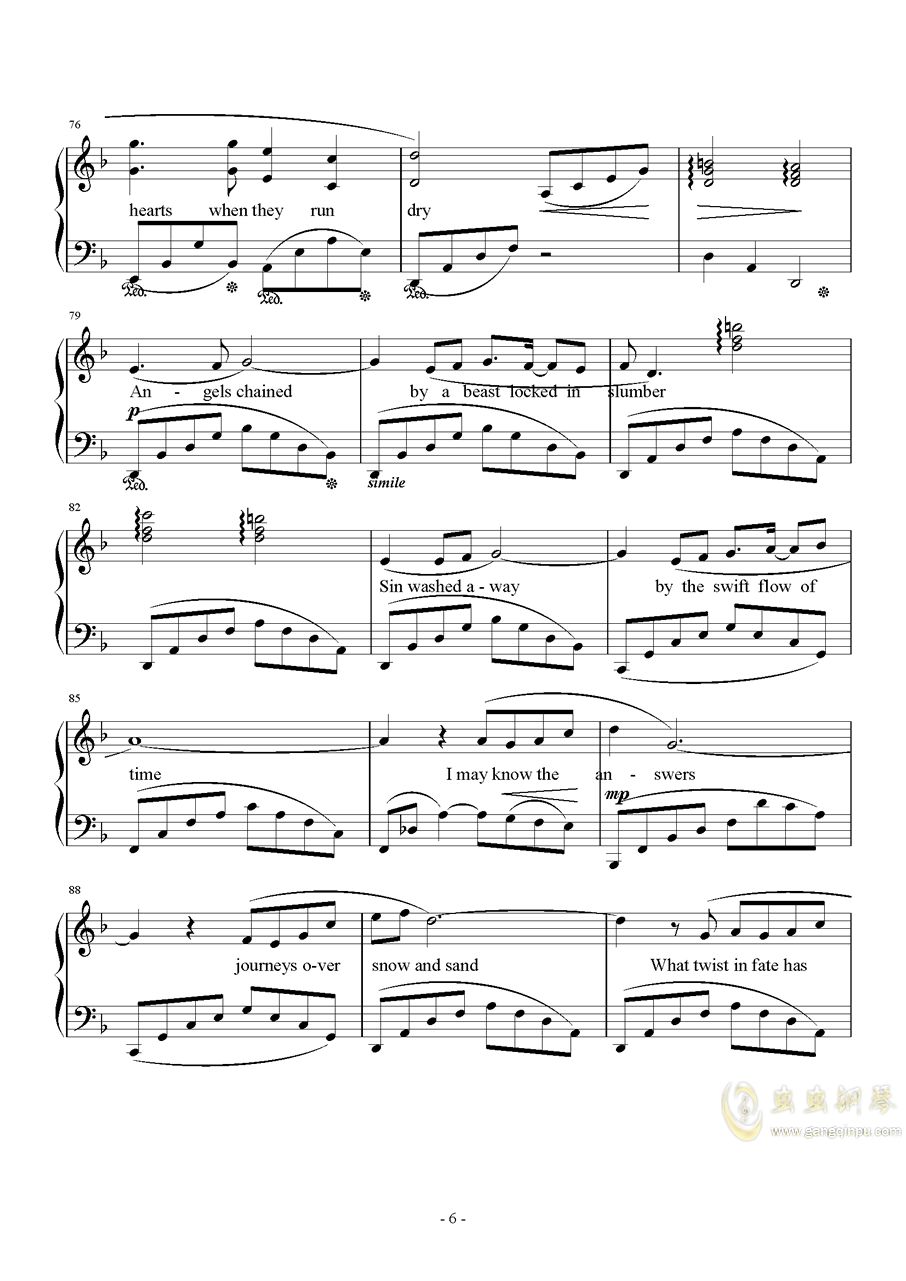Distant Worlds钢琴谱 第6页