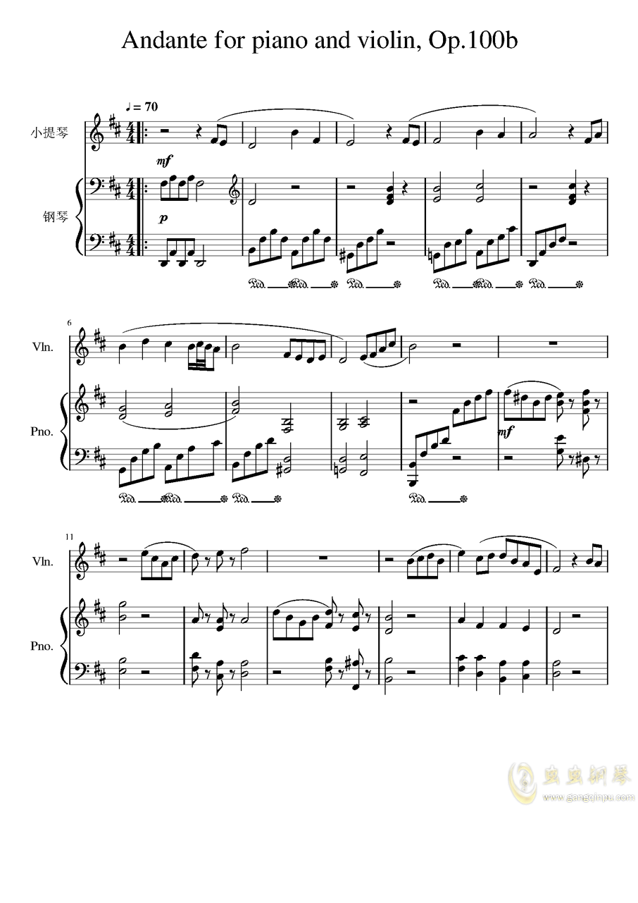 Andante for piano and violin, Op.100bag88环亚娱乐谱 第1页