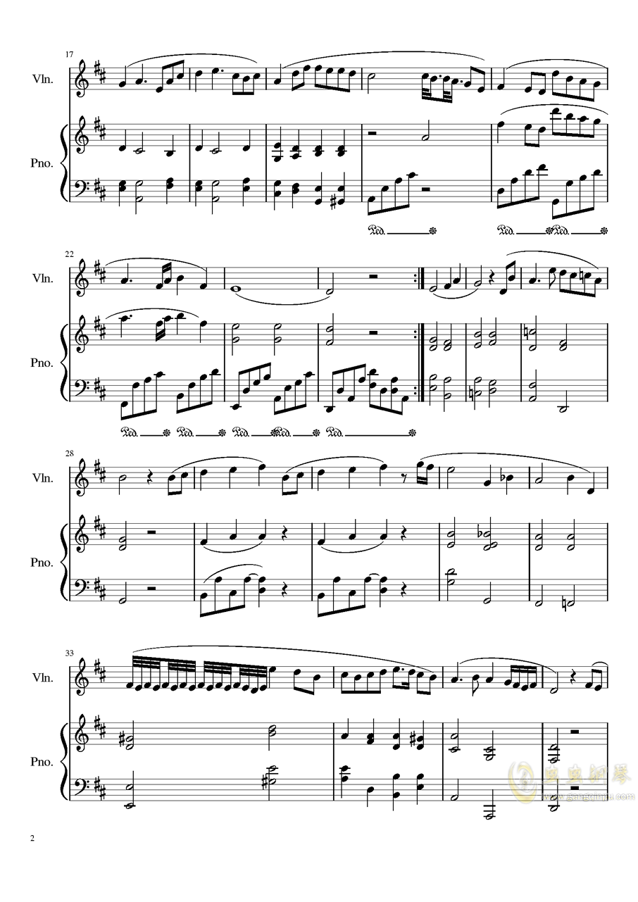 Andante for piano and violin, Op.100bag88环亚娱乐谱 第2页