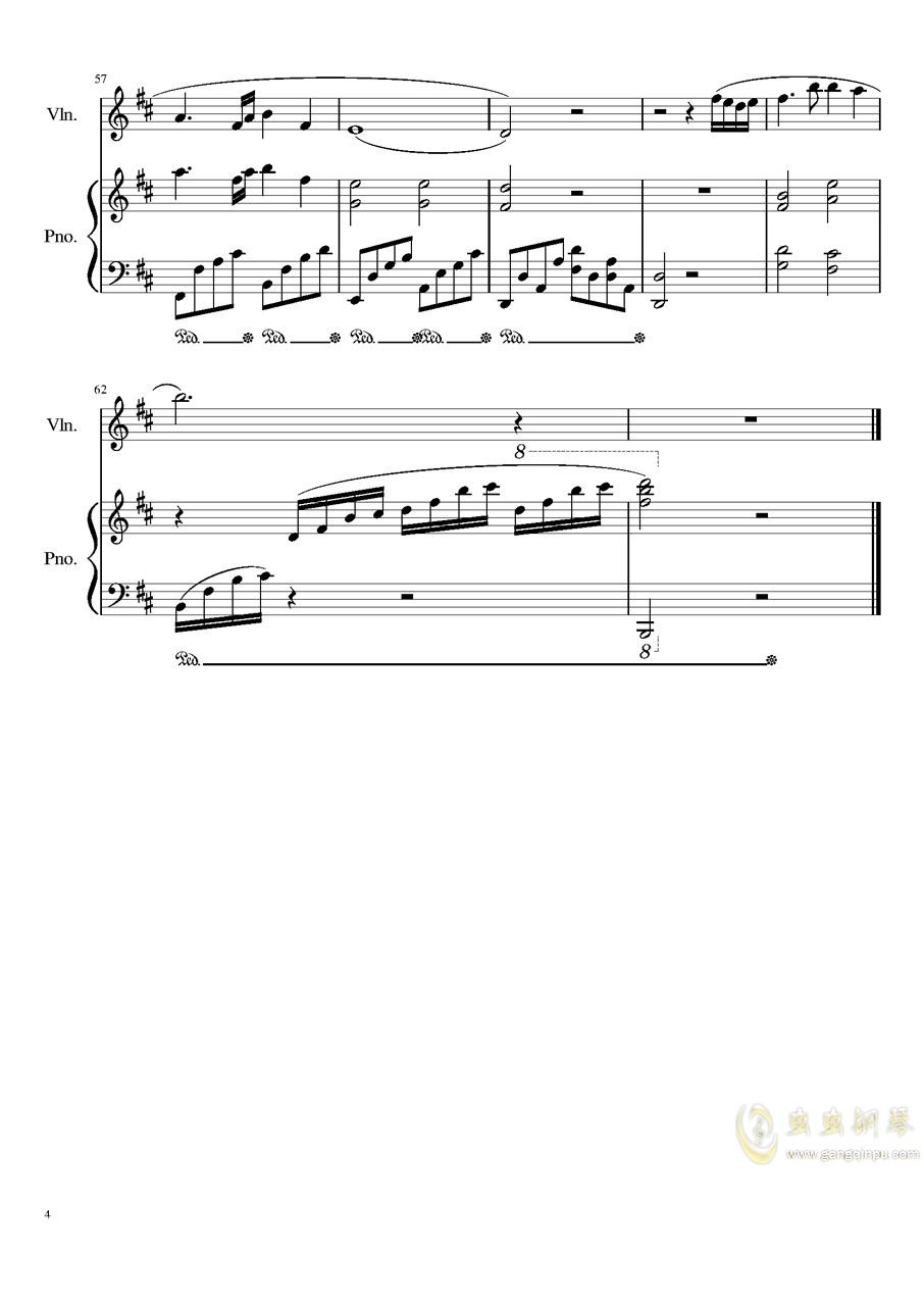 Andante for piano and violin, Op.100b钢琴谱 第4页