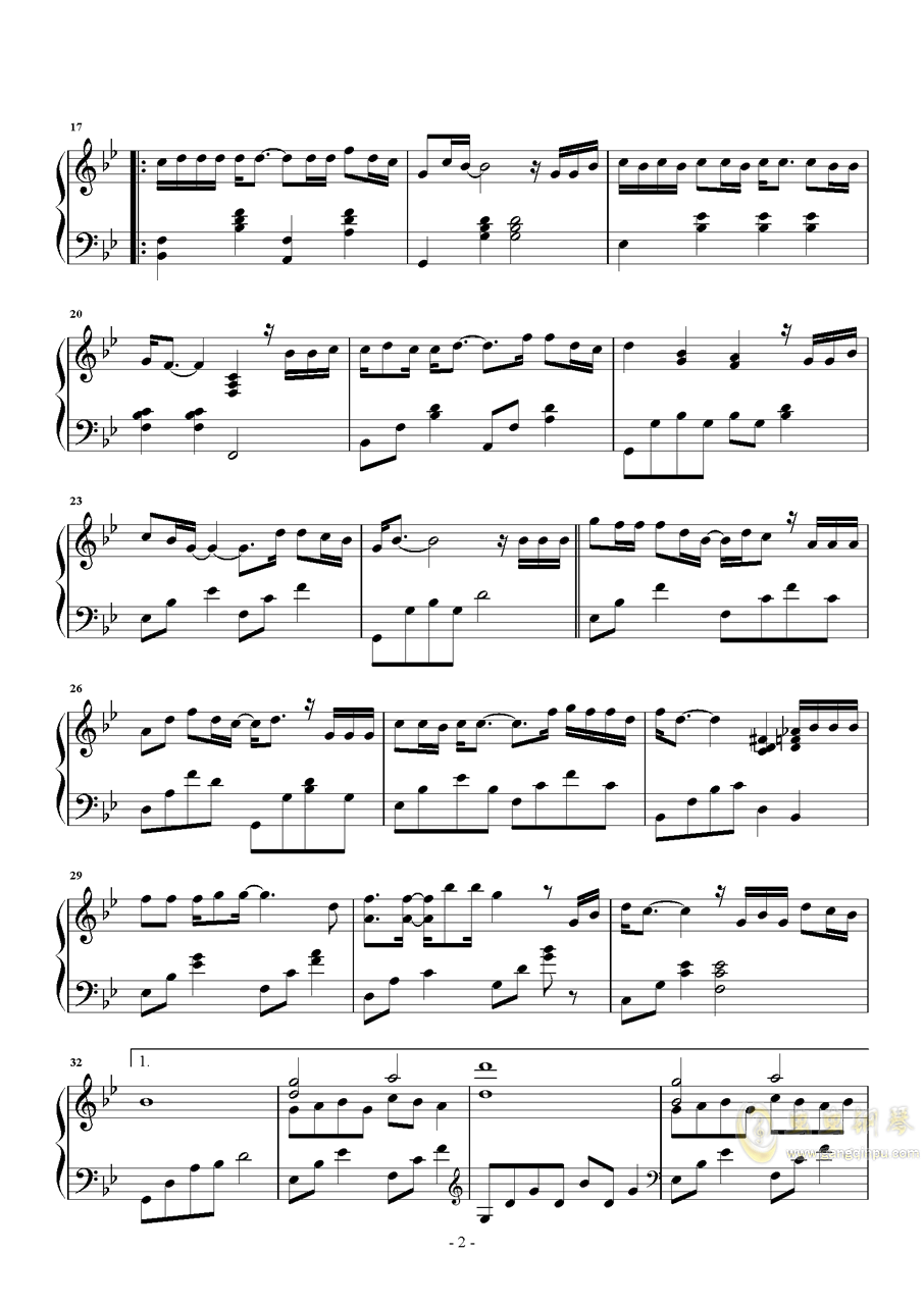 我曾钢琴谱 第2页