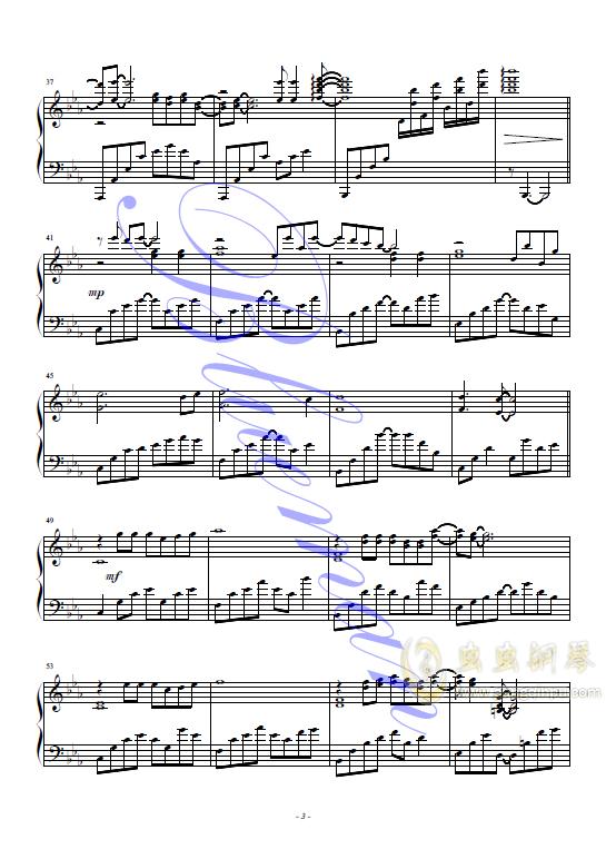 抚仙湖钢琴谱 第3页
