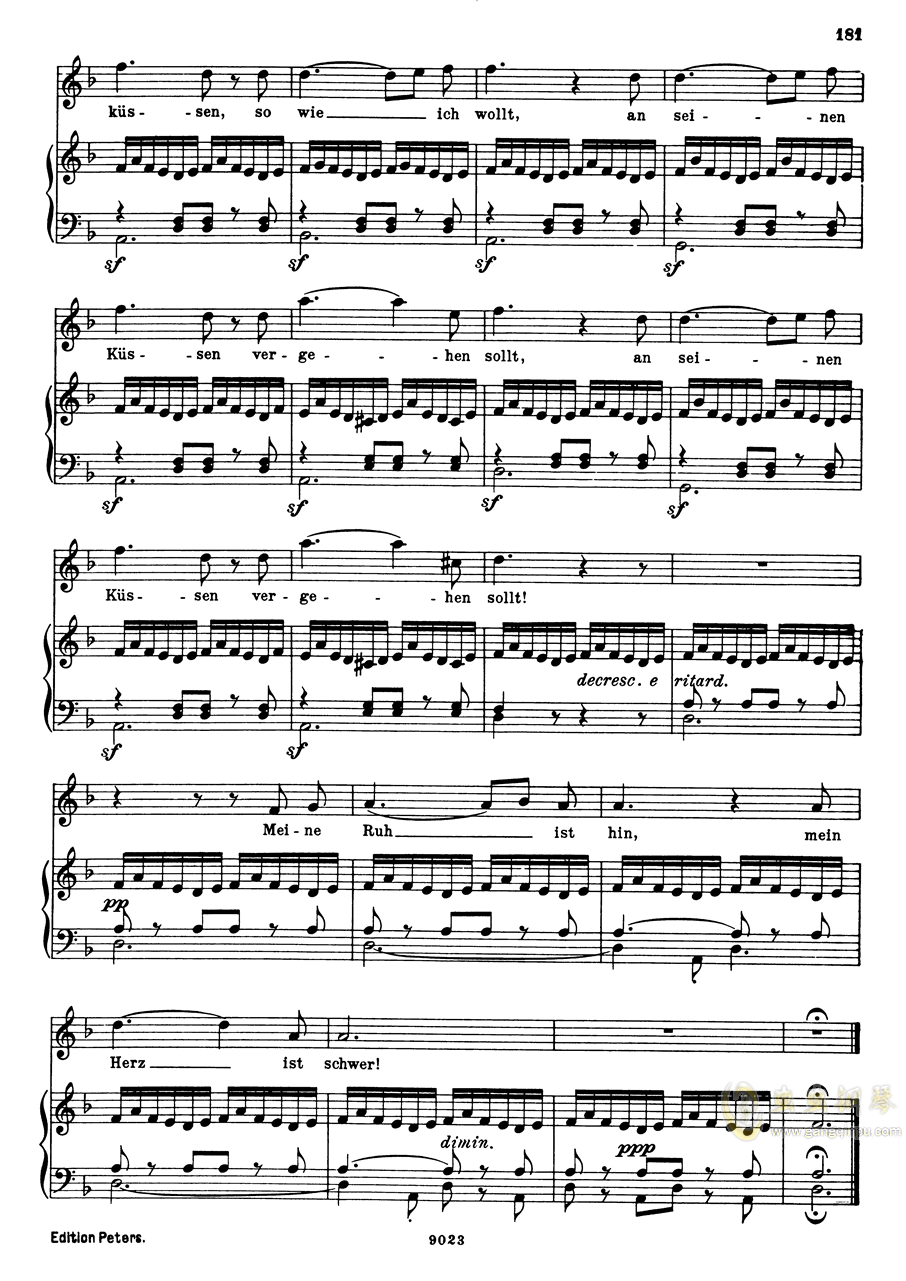 纺车旁的格丽卿钢琴谱 第6页