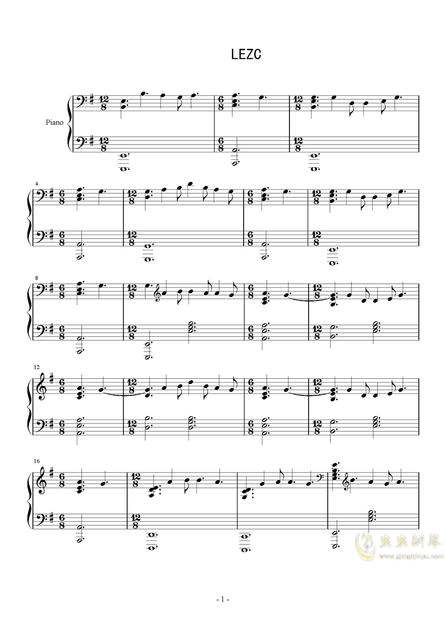 巴赫 E小调布列舞曲钢琴谱 第1页