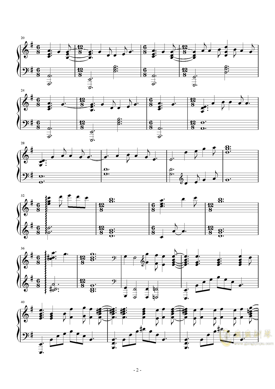 巴赫 E小调布列舞曲钢琴谱 第2页