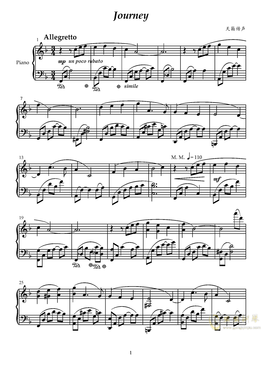 Journey钢琴谱 第1页