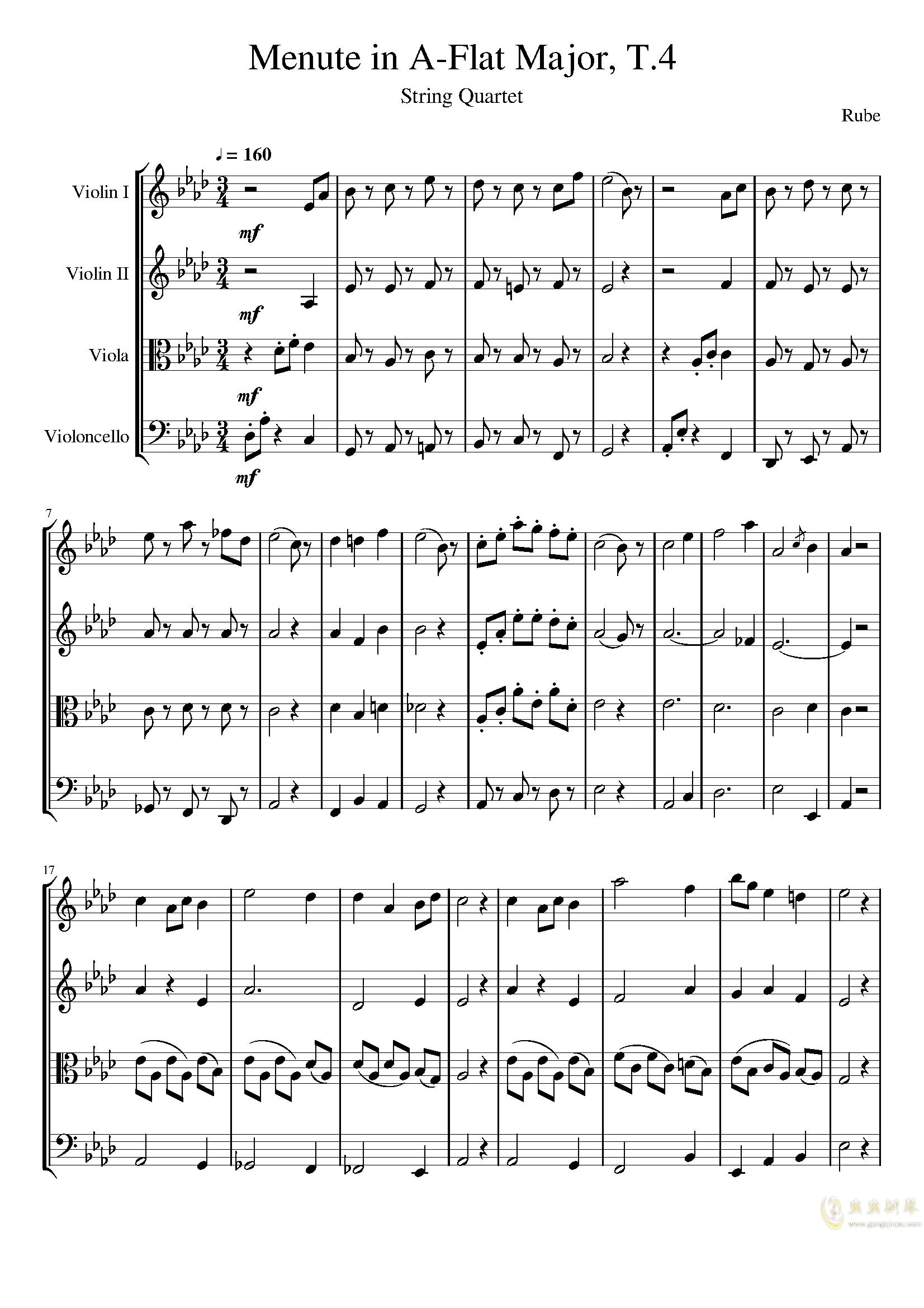 Menute in A-Flat Major, T.4钢琴谱 第1页