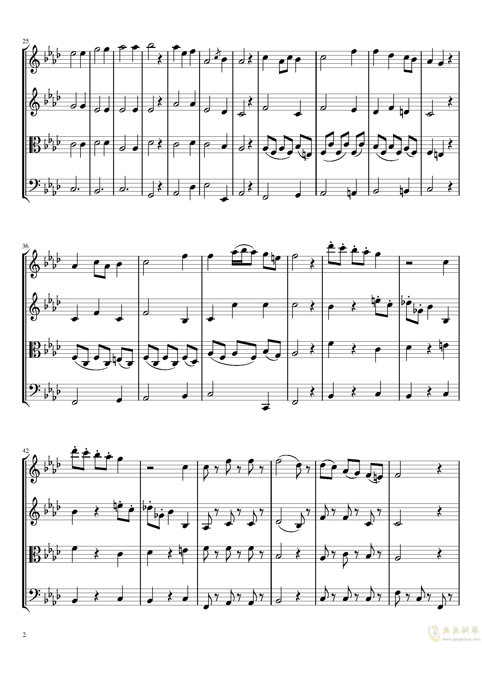 Menute in A-Flat Major, T.4钢琴谱 第2页