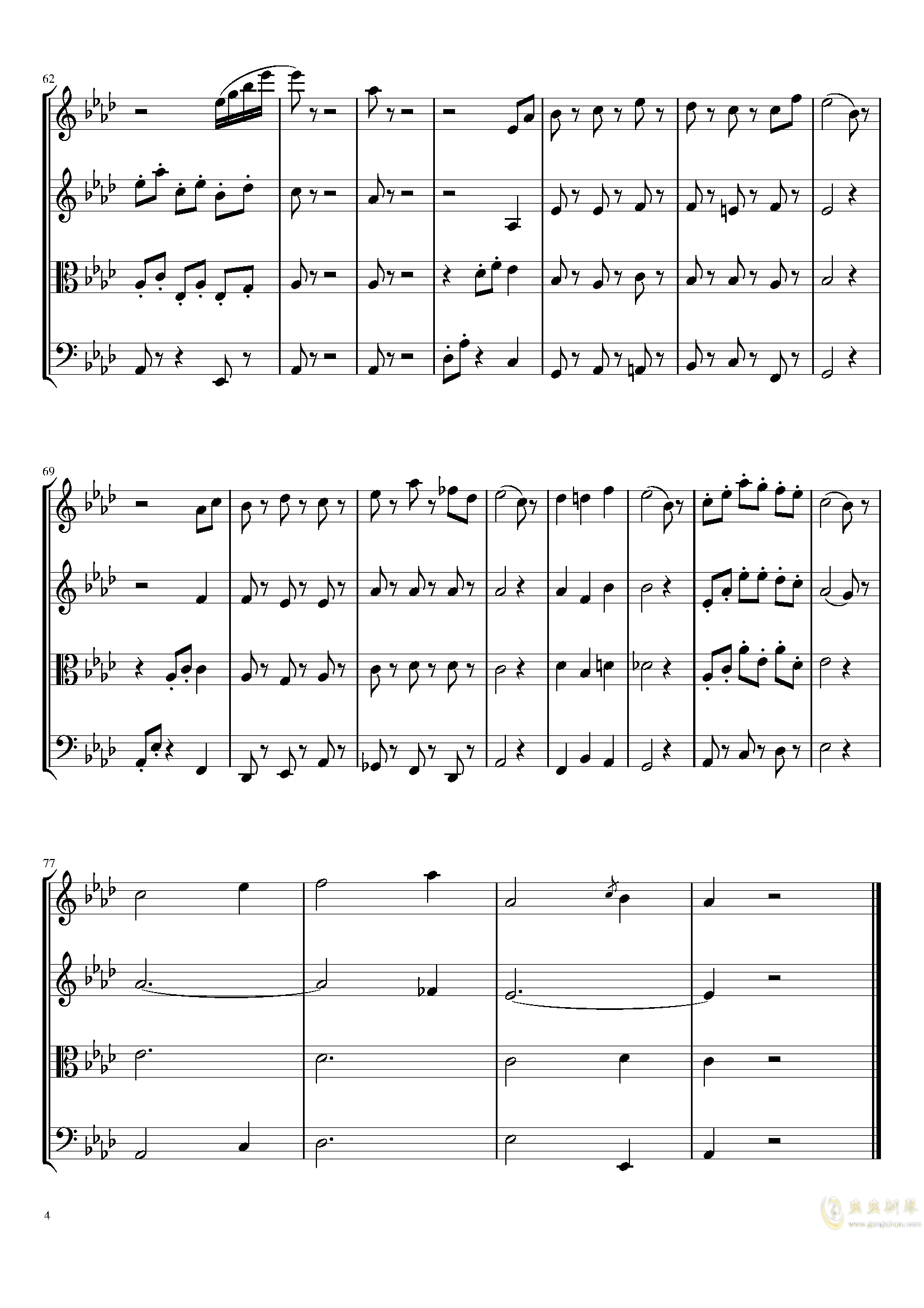 Menute in A-Flat Major, T.4钢琴谱 第4页