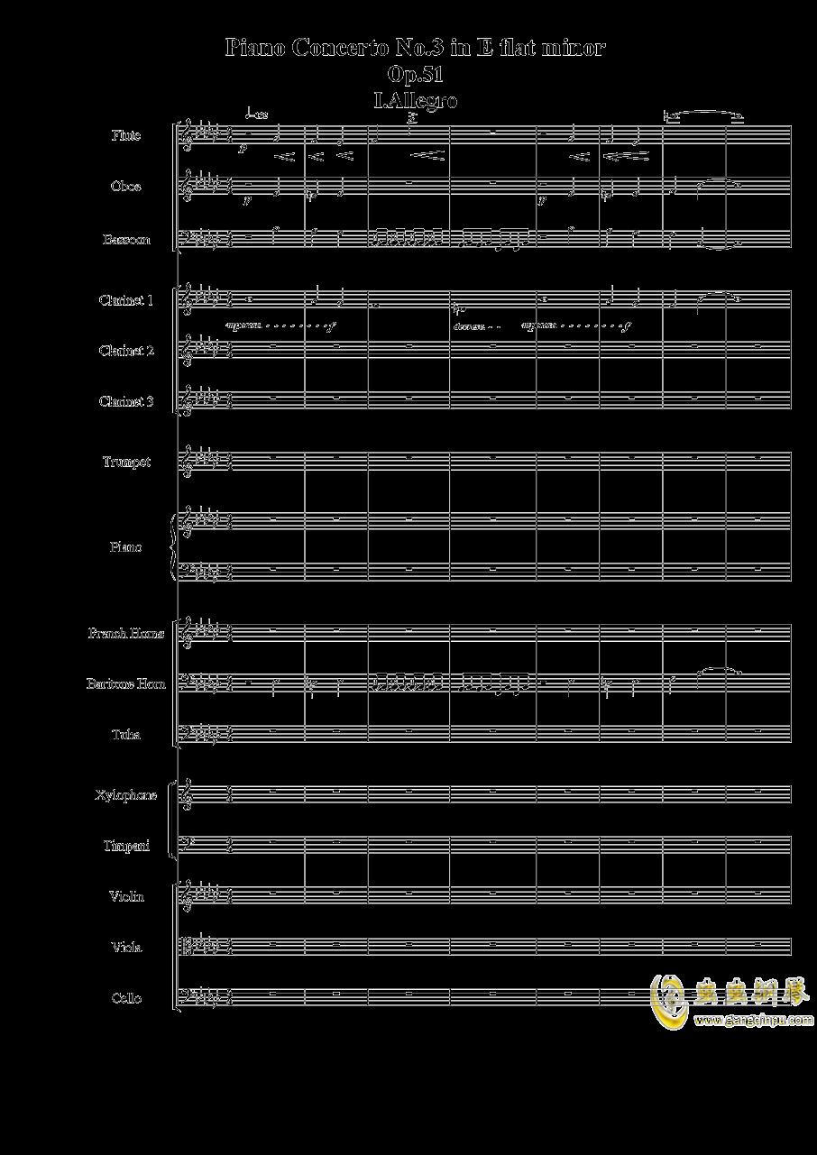 Piano Concerto No.3 in E Flat minor,I.Moderto钢琴谱 第1页