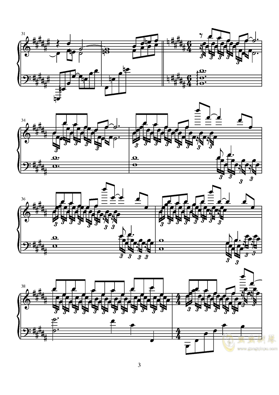 波纹钢琴谱 第3页