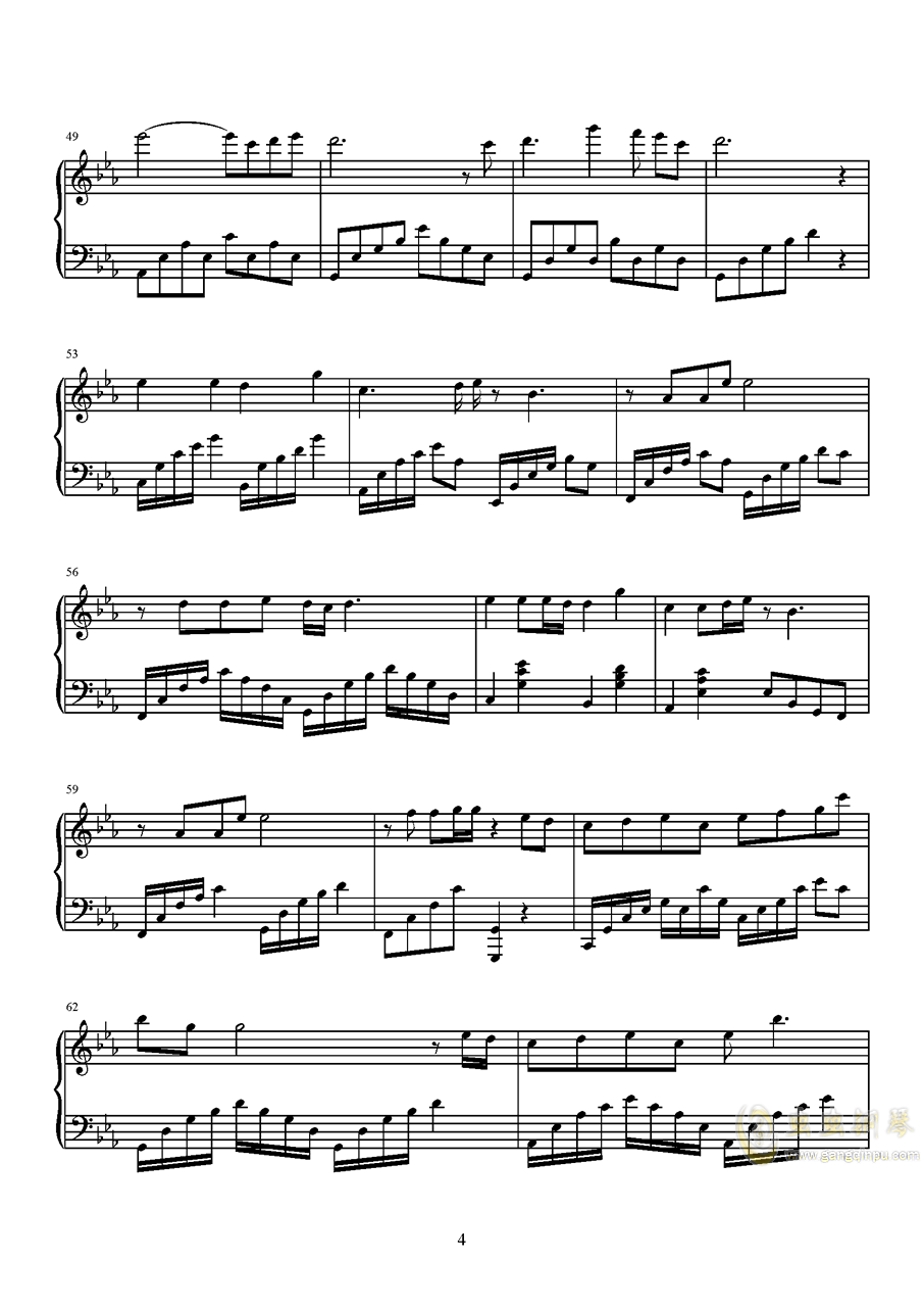 荒城渡钢琴谱 第4页