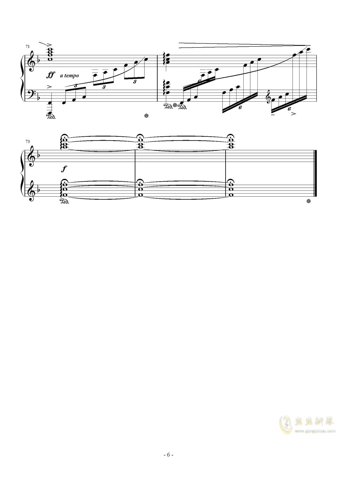最终幻想历代主题音乐钢琴谱 第6页