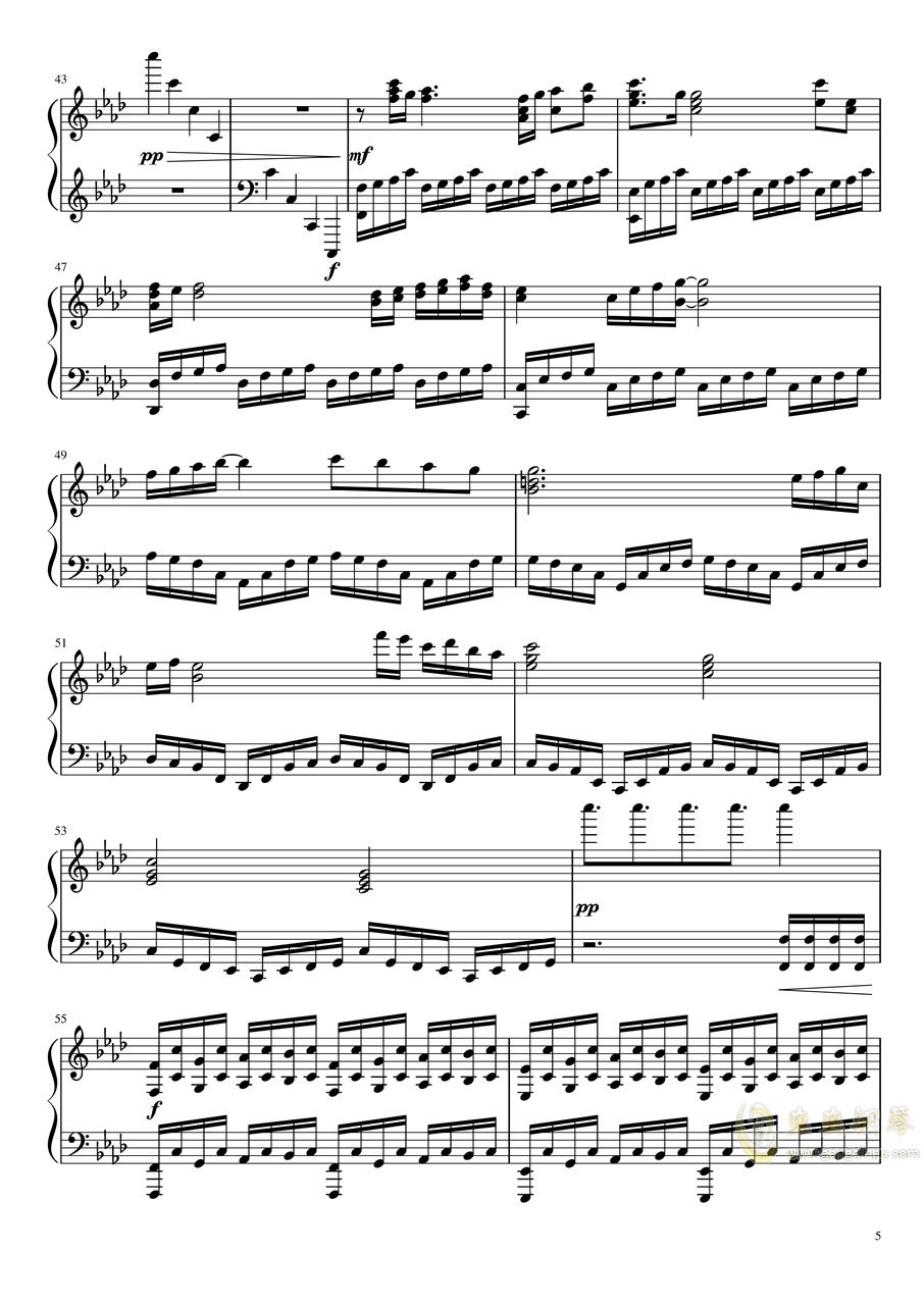 恋与制作人――深渊尽头(无底深渊版)钢琴谱 第5页