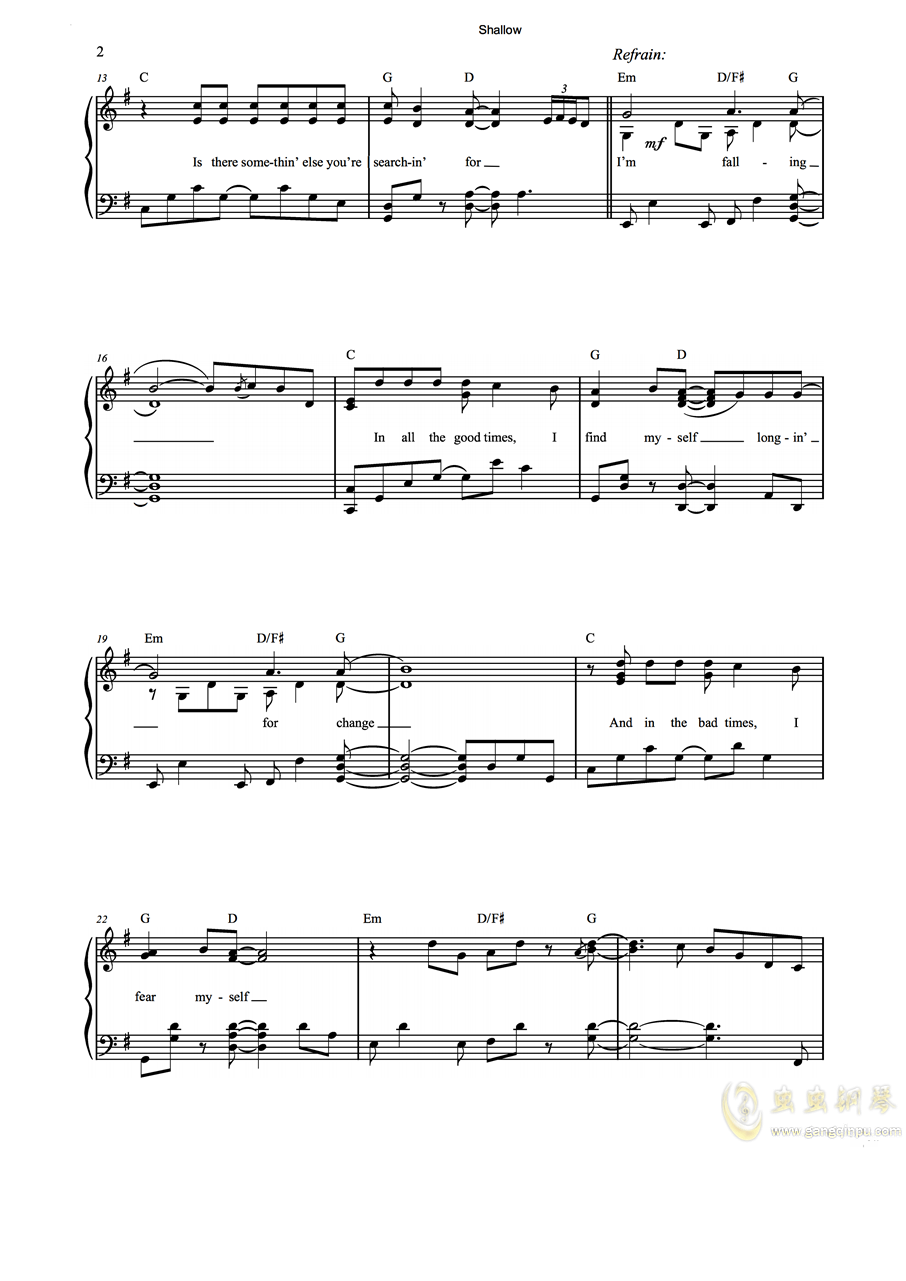 Shallow钢琴谱 第2页