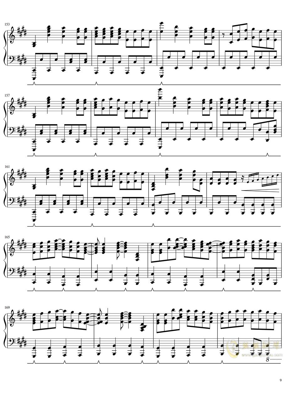 【天气之子】OST - グランドエスケ�`プ (完整版)钢琴谱 第9页