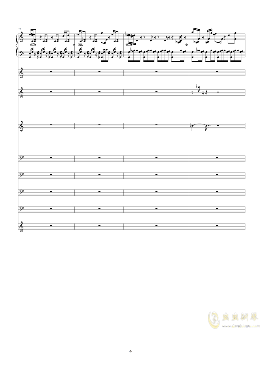 作品集《钢琴与弦乐》之――g小调(试听版)钢琴谱 第7页