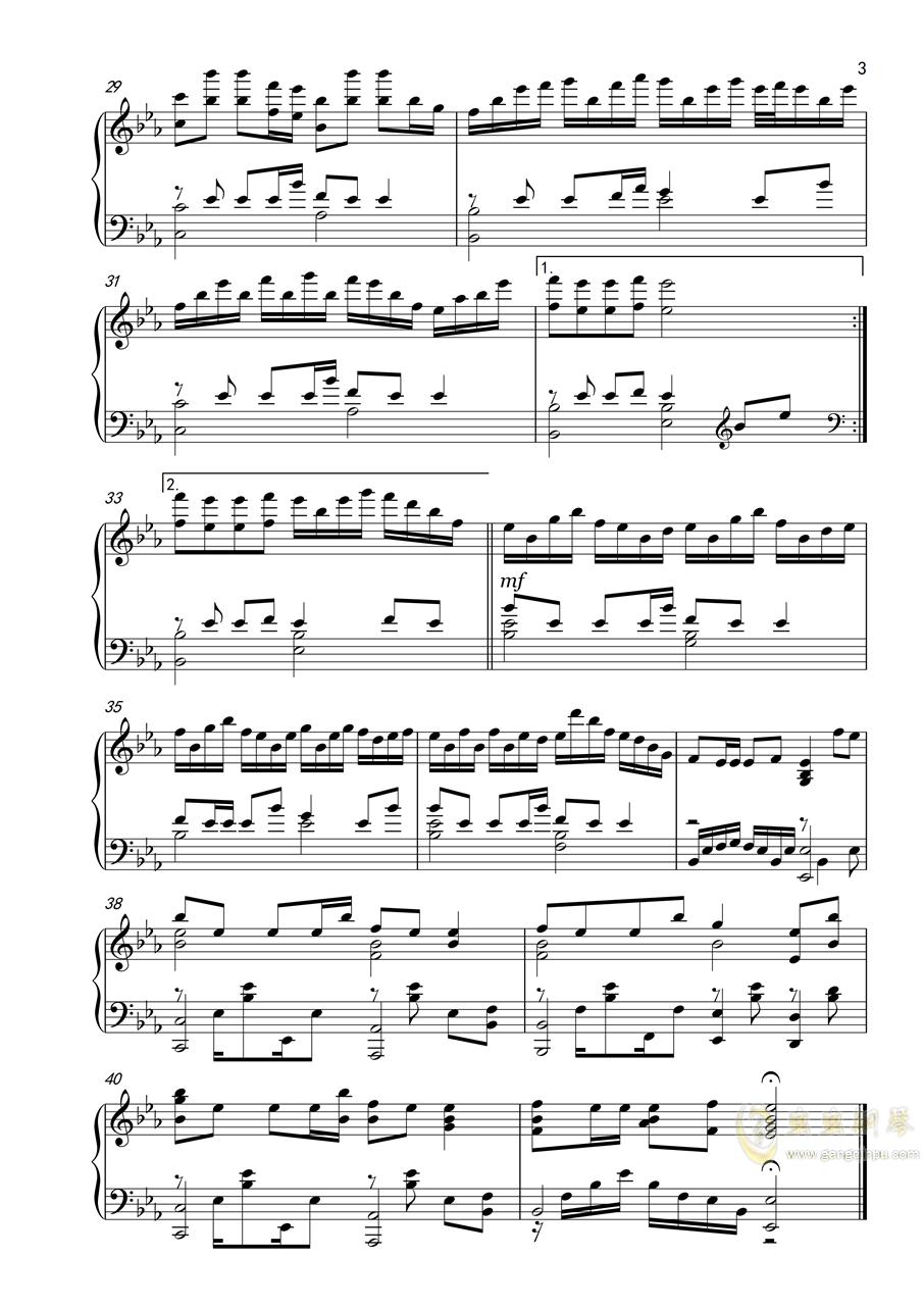 勾指起誓钢琴谱 第3页
